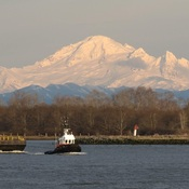 Mount Baker and Tugboat