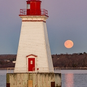 Pink Supermoon Over Sandy Point Lighthouse