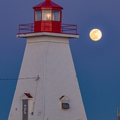 Pink Supermoon Over Baccaro Point Lighthouse