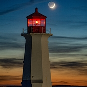 Crescent Moon And Earthshine At Peggys Cove