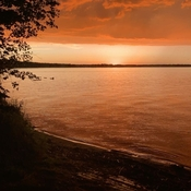 Orange Sunset over Clear Lake