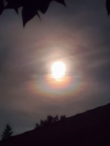 Rainbow around the Moon tonight 5919 22 Ave NE, Calgary, AB T1Y 2C1, Canada