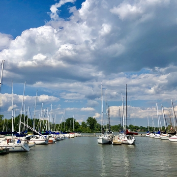 Beautiful clouds by the marina