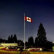 Canada Flag Flying at Night