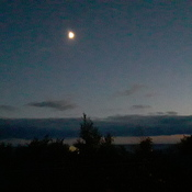 Moon over Lake Ontario near Rouge Hill Go Train station