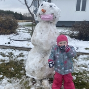 Cute little girl and covid safe snowman
