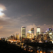 Moonrise over Downtown Calgary