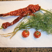 Fresh Dill Weed, Cherry Tomatoes and Hot Chilli Pepper