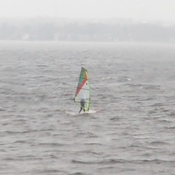 Wow! A cold rainy and windy day on the River but the windsurfer is undeterred!