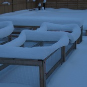 Snow on garden boxes