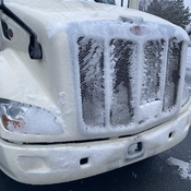 Ice on front of truck