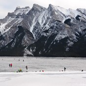 Ice Skating on Lake Minnewanka