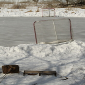 Soft pond ice. No Hockey.