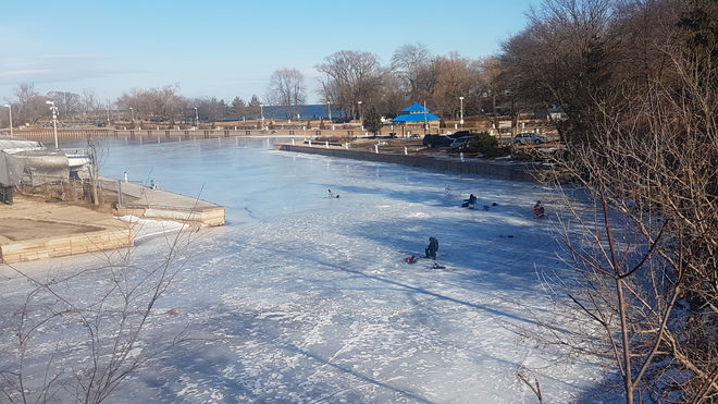 Ice Fishing in Bronte Harbor Oakville, ON