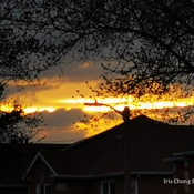 Unexpected Cloudy sunset on fire! 7:45pm 13C Thornhill - April 14 2021